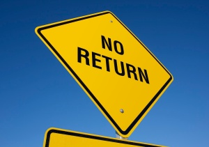 Point of no return sign