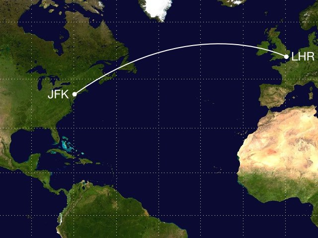 Shotest distance between London and New York
